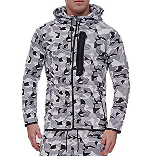 Price comparison product image DDLmax Camouflage Coat for Men Autumn Winter Vintage Zipper Hooded Print Long Sleeve Outdoor Coat