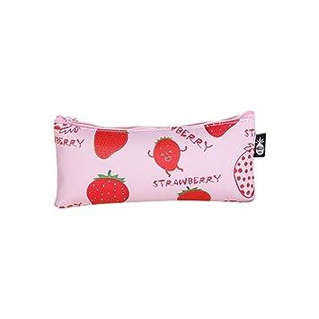 TINGSU - Estuche de poliuretano resistente al agua para estudiantes, niñas, bolsa de almacenamiento (negro), color rosa: Amazon.es: Oficina y papelería