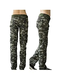 YOUMU Women Casual Camouflage Cargo Trousers Pants Straight Leg Army Casual Outdoor Pants