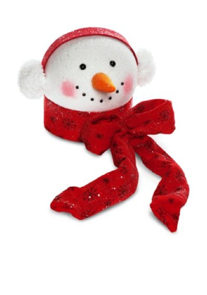 Santa Stop Here Snowman with Earmuffs Tree Topper