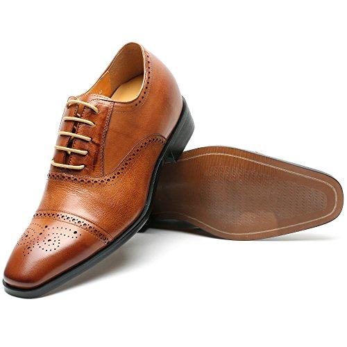 Vestido De Cuero Hombre Chamaripa Elevador Ala Punta Zapatos Oxford 2.76 Pulgadas Altura Creciente Plantillas Ak6531 Marrón