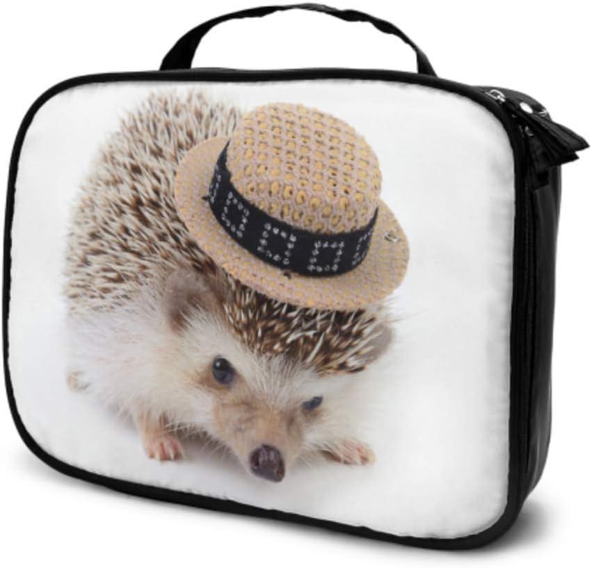 Un pequeño Erizo con Sombrero Blanco Bolsa de Aseo para Hombres de Viaje Bolsa de cosméticos de Viaje para Hombres Bolsa de Maquillaje para niñas Adolescentes Bolsa Impresa multifunción para