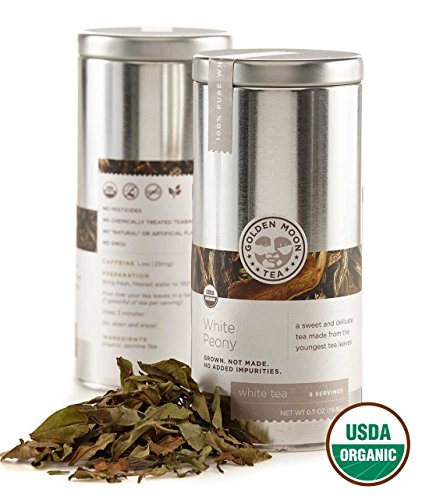 (Golden Moon - Organic White Tea | Sweet Delicate Flavor | Travel Size Tin Holds 9 Perfect Portion Servings | Large Uncrushed Whole Loose Leaf Tea Leaves | White Peony From China)