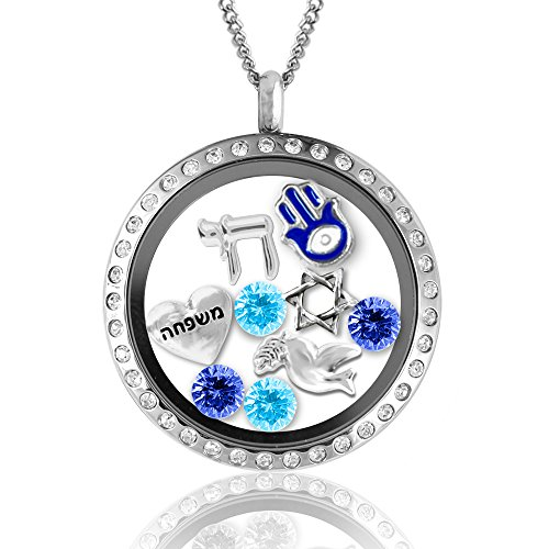 Judaica Jewelry (Hanukkah Gifts! Fashion Jewelry Necklaces in Judaica Gifts, Jewish Charms Locket Menorah Necklace Jewish Gifts)