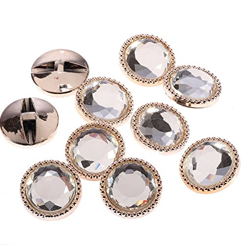 CraftbuddyUS AB14 20pcs 25mm Gold Round Glass Button Crystal Diamante - Glasses Diamante
