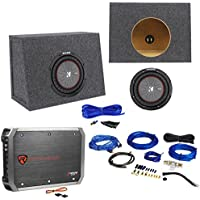 Package: Kicker 43CWR82 8 600W Dual Voice Coil 2Ohm Car Audio Sub+Car Amp 1500W Peak Bridgeable+Wire Kit W/RCA Cable+Sealed Shallow Sub Enclosure Box+Wire Kit W/Speaker Wire+Screws+Spade Terminals