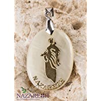 Handmade Mother Of Pearl Virgin Mary Pendant Sea shell Jesus Cross Jerusalem