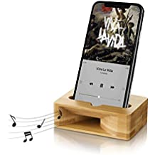 Yome Cell Phone Stand with Sound Amplifier, iPhone Stand Holder Bamboo Wood Phone Dock, Natural Wooden Stands for iPhone X 8 7 6s 6 Plus and Android Smartphones Within 5.5 Inches