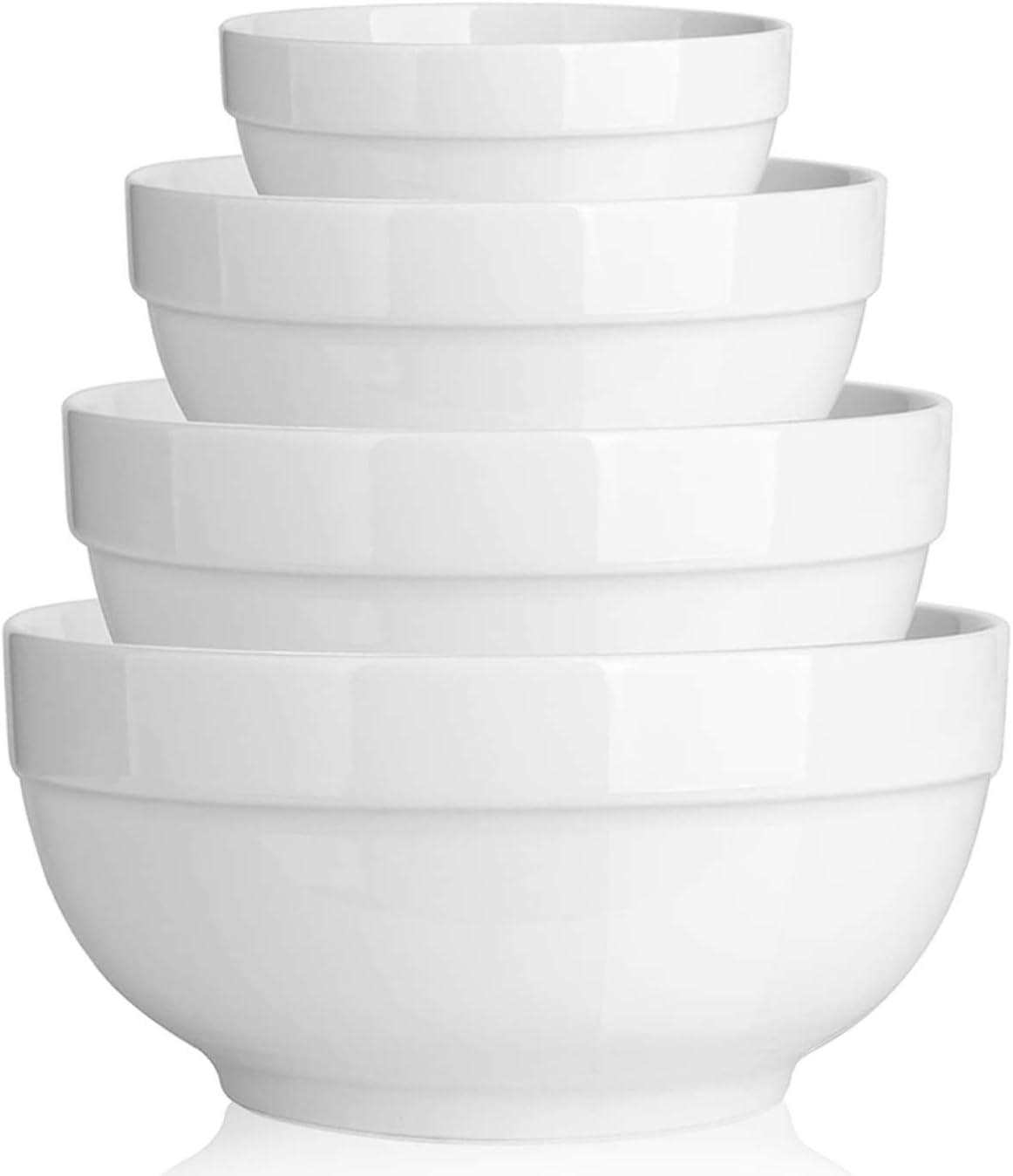 2 Packs Stackable White DOWAN 2.5 Quarts Porcelain Serving Bowls,Non Slip Salad Bowls Pasta Bowl Set