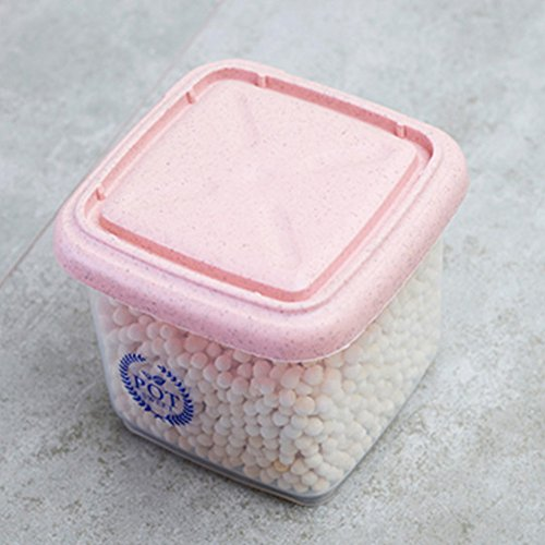 EDTara Plastic Sealed Transparent Cans Kitchen Storage Box Food Canister Keep Fresh Jar Pink (Tell Us Canisters Set)