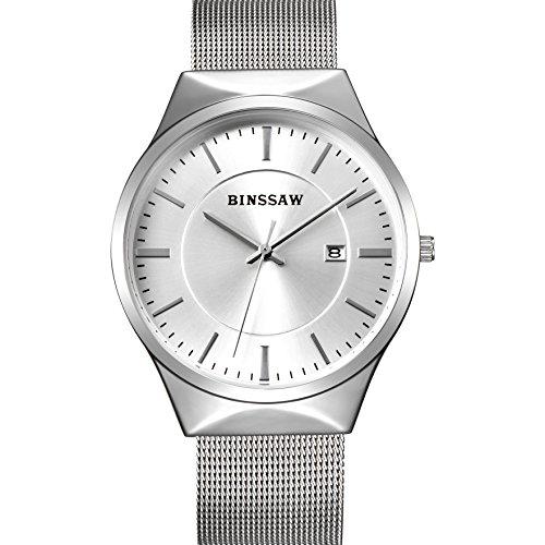 BINSSAW Men Quartz Watch Luxury Top Brand Fashion Mesh Delicate Ultra-thin Business Watch Full Stainless Steel Men Wrist Watches - Luxury Brands Top Mens