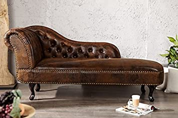 Casa-Padrino Chesterfield chaise longue/lounge chair antique brown ...