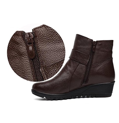 Brown Velvet Female Shoes Elderly And 4 With KHSKX Cm Leather Cotton Mother 35 Height Boots xB80vw01q