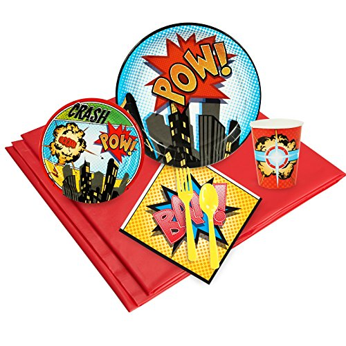 BirthdayExpress Superhero Comics Party Supplies - Party Pack for 24 Guests -