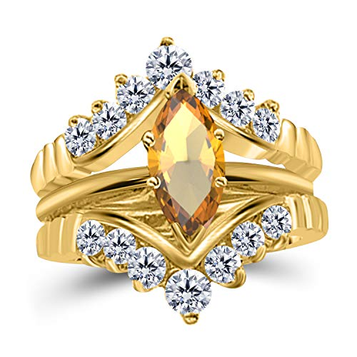 Silver Gems Factory 0.75 Ct Marquise Solitaire Engagement Wedding Ring Band Set Enhancer Yellow Citrine 14k Yellow Gold Plated Alloy