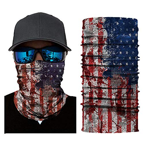 (Patriotic Face Sun Mask, Vintage Animal Skull Flag Print Neck Gaiter Headwear, Magic Scarf, Balaclava, Bandana Headband(F3))