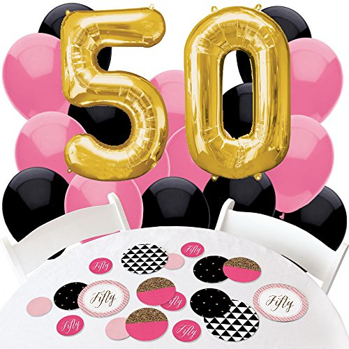 Chic 50th Birthday - Pink, Black and Gold - Confetti and Balloon Birthday Party Decorations - Combo Kit -