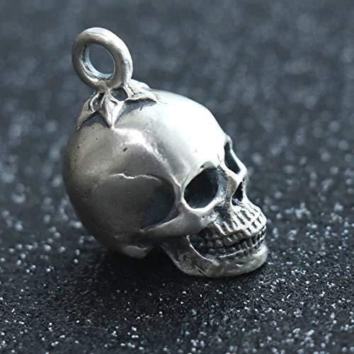 Glintbay Creative Handmade Sterling Silver Skull Bead Pentagram Punk Rocker Pendant (Matte-M) (Sterling Silver Skull Bead)