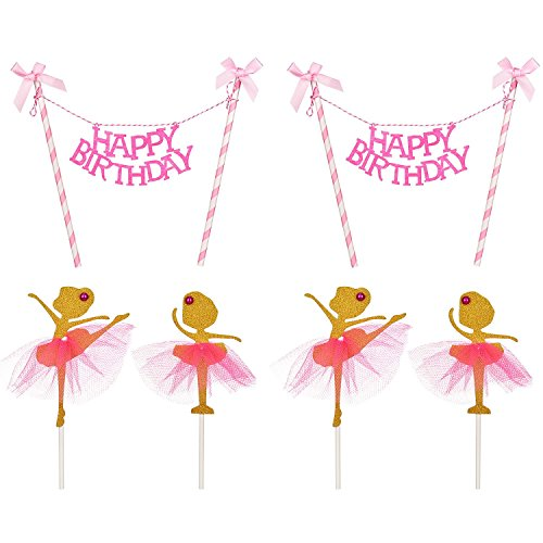 Maxdot Birthday Cake Bunting Topper with Pink Bows and Straws Gold Glitter Ballerina Cake Topper with Pink Dress, Birthday Party Decorations for Girl, Total 6 Pieces