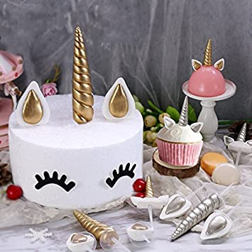 Unicorn Cake Toppers Unicornio Horn Ears Cake Decorations Cupcake