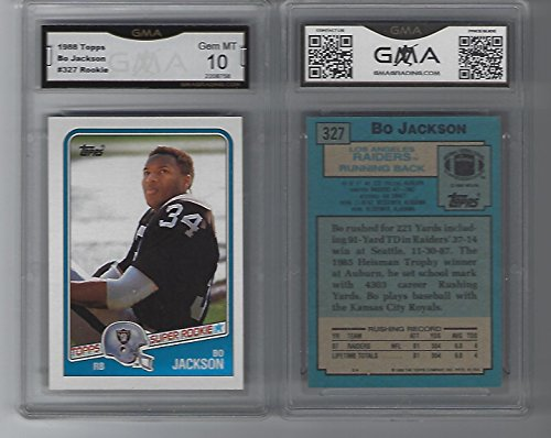 BO JACKSON 1988 TOPPS SUPER ROOKIE NFL FOOTBALL #327 ROOKIE CARD GRADED GEM MINT 10 ()