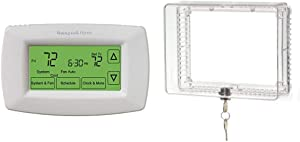 Honeywell Home RTH7600D 7-Day Programmable Touchscreen Thermostat, Small, White, 1-Pack & Home CG511A1000 Medium Inner Shelf to Prevent Tampering Thermostat Guard, White