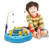 Wishtime Double Fish Pools Magnetic Electronic Rotating Magnetic Hunting Duck Game With Music and Light Learning and Educational toys