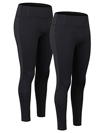 9bbf3cf199 Amazon.com: Women High Waist Compression Yoga Leggings Running Pants with  Inner Pocket 2 Pack: Clothing