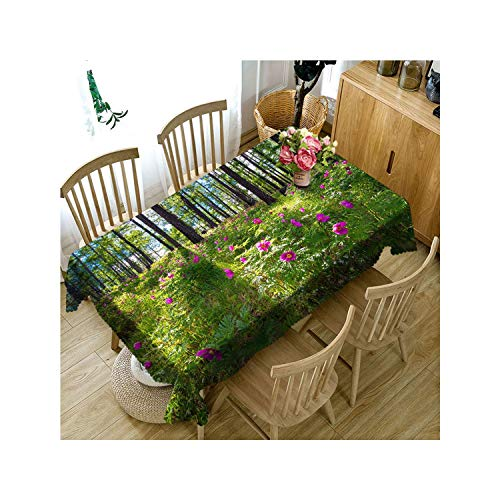 Rectangular 3D Green Forest Sunlight Scenery Pattern Dustproof Tablecloth New Year Party Table Cover,Color 5,140Cm X 180Cm
