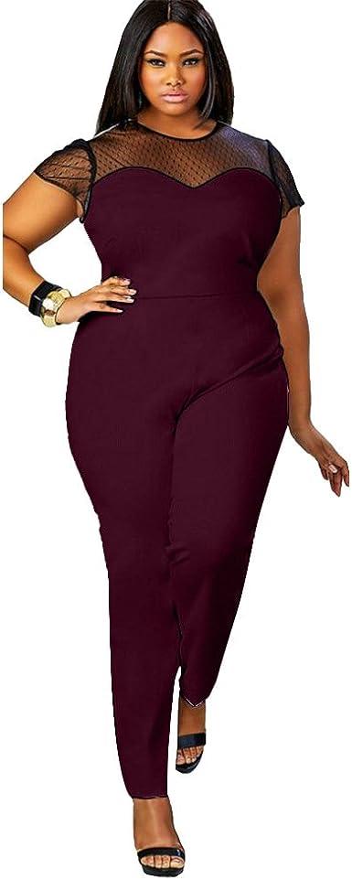 Qiyushow Mono De Encaje Para Mujer Color Negro Tallas Grandes Negro Red Wine Xxxl Amazon Es Ropa Y Accesorios
