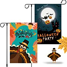 Coolrunner Halloween Garden Flag Decorations, 2Pack Double Sided Home Garden Yard Flag Trick Or Treat Flag Outdoor Décor - Pumpkins Bats Moon Castle Vampire Halloween Party 12x18 Inch (Style 2)