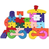 train number puzzle - DOUYYE Education Letter and Number Toy, Interactive Kids Play Game ,Wooden Blocks Train Shape Jigsaw Puzzles Toys for 3 4 5 year old and Up Boys Girls Toddlers Preschool Children Babies (26 pcs)