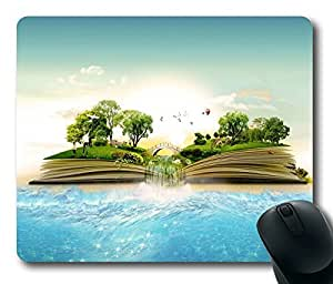 Unique World In A Book Digital Art Masterpiece Limited Design Oblong Mouse Pad by Cases & Mousepads