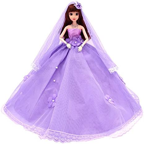 Red DH-Greensun Wedding Dress with Veil and Princess Evening Party Clothes Wears Gown Dress Outfit for Barbie Doll