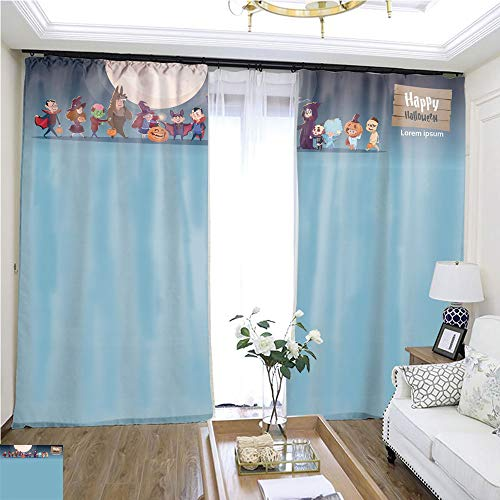 Curtain Gauze Cute Kids Wear Monsters Costume Happy Halloween Banner Party Celebration Concept1 W108 x L80 1800 Loop Curtain Panels Highprecision Curtains for bedrooms Living Rooms Kitchens etc.