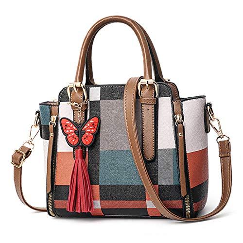 (Handbags Famous Brands Famous Designer Classic Striped Shoulder Bags Professional Handbags Women Messenger Bag Totes,Plaid Khaki)