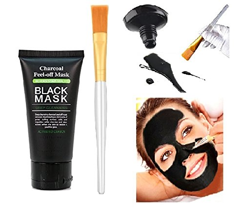 Blackhead Remover Mask Charcoal Purifying Peel off Black Mask Deep Cleansing Acne Oily Skin Pore Control Mask 60 ml Facial Brush Applicator ()