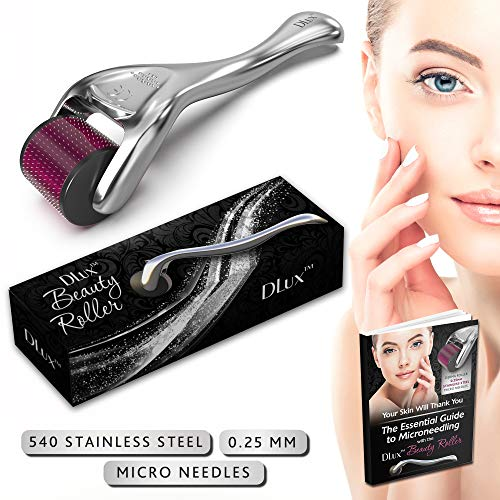 Microneedle Derma Roller with Protective Kit and Ebook :: New 2019 Model :: Stainless Steel 0.25mm Microneedles :: 540 Exfoliating Needles :: Micro Roller for Face ::