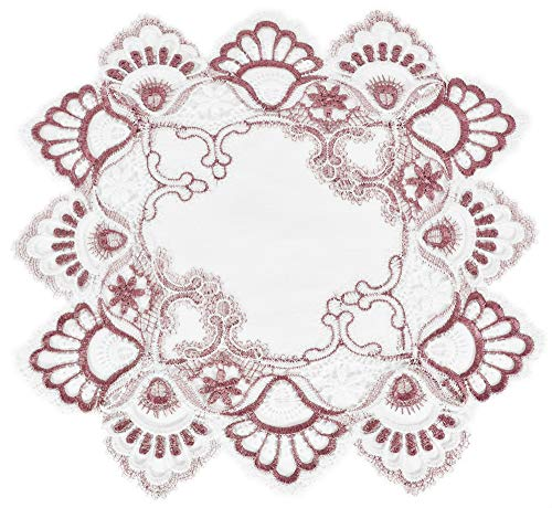 Linens, Art and Things White Mauve Rose Jacquard Peacock Tail Lace Doily Placemat Small Table Centerpiece Pink Light Purple 14 inches Square Approx