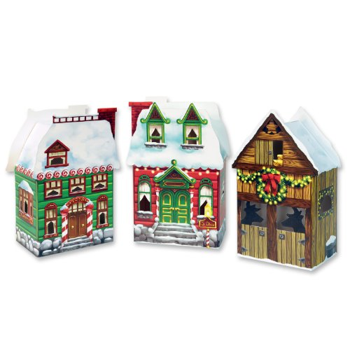 Beistle 3-Pack Christmas Village Party Favor Boxes, 3.75-Inch by -