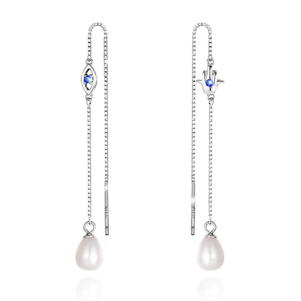 90f7f7edebd9c PEARLOVE Freshwater Pearl Long Earrings Threader Dangle Drop Earrings 925  Sterling Silver Long Chain Ear Linear Earring for Women With Gift Box