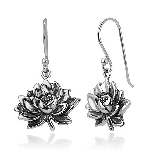 925 Oxidized Sterling Silver Vintage Detailed Lotus Flower Blossom Dangle Hook Earrings 1.1