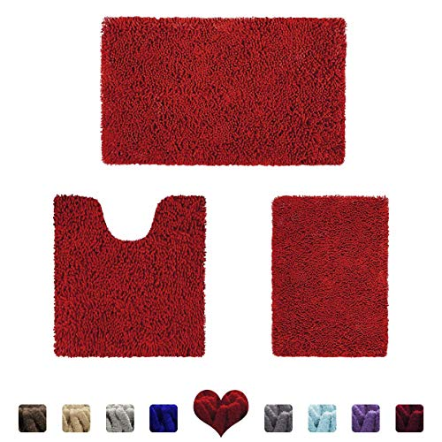 HOMEIDEAS 3 Pieces Bathroom Rugs Set Red, Luxury Soft Chenille Bath Mats Set, Absorbent Shaggy Bath Rugs & Slip Resistant Plush Carpets Mats for Tub, Shower, Bathroom