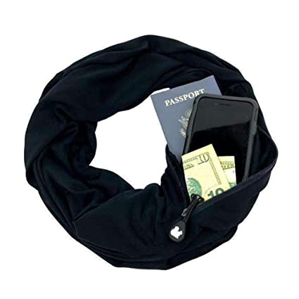 c18a1c573083 Écharpe de voyage Alftek - Infinity - Avec une poche - Pour femme Noir