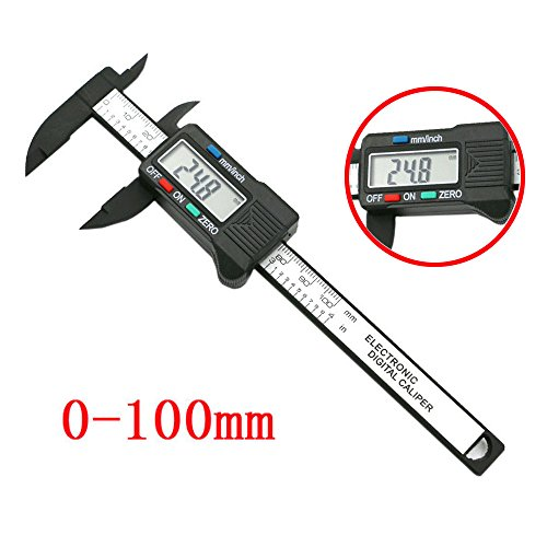 (Tharv❤100mm/4inch LCD Digital Electronic Carbon Fiber Vernier Caliper Gauge Micrometer Black)