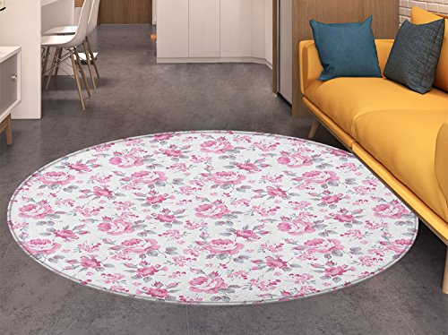 (Shabby Chic Round Area Rug Carpet Pink Roses with Grey Leaves Garden Bedding Plants Spring Blossoms Living Dinning Room and Bedroom Rugs Pale Pink White Grey)