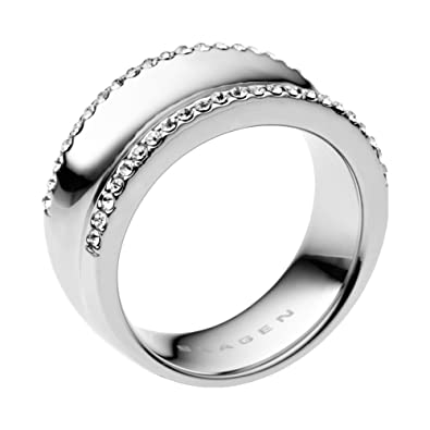 7b09eaf8f Skagen Women's Ring Stainless Steel Crystal White Size 56 (17.8) skj  0096040-8: Skagen: Amazon.co.uk: Jewellery
