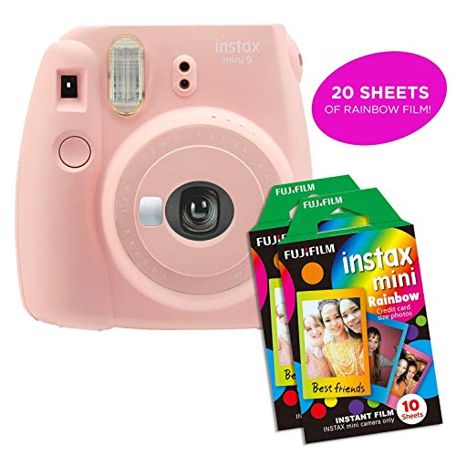 Fujifilm Instax Mini 9 Instant Camera | Includes 2 Rainbow Film Packs (20 Photo Sheets Total) | Auto Lens & Light Exposure Setting | Certified Refurbished (Rose Quartz)