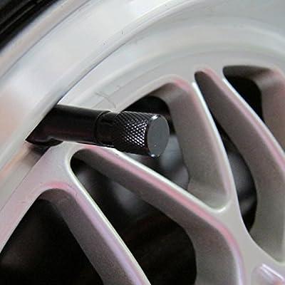 Sonik Aluminum Alloy Tire Valve Stem Caps (Black): Automotive
