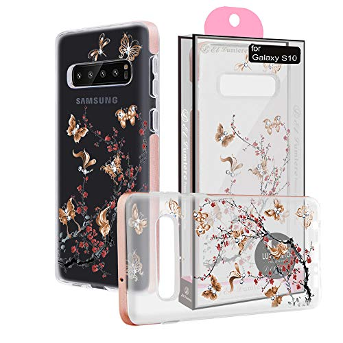 [ El Lumiere Lumi Sketch Case for Samsung Galaxy S10 ] Soft Flexible TPU [Lightweight Ultra Thin Shell] Non-Stick TPU [Glossy Finish Back Cover] (LS-Butterfly Plum)